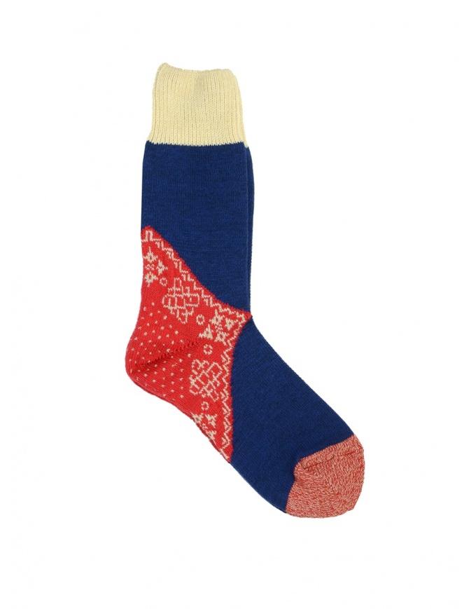 Kapital blue red and white patterned socks EK-552 RED socks online shopping