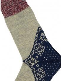 Kapital bandana patterned socks in blue, grey, red
