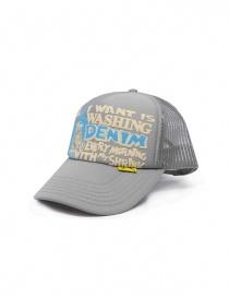 Kapital cappellino grigio con scritta frontale bianca e azzurra