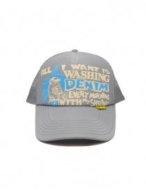 Kapital cappellino grigio con scritta frontale bianca e azzurra online