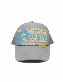 Hats and caps online: Kapital grey cap with white and blue frontal writing