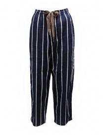Womens trousers online: Kapital Phillies stripe Easy navy blue pants