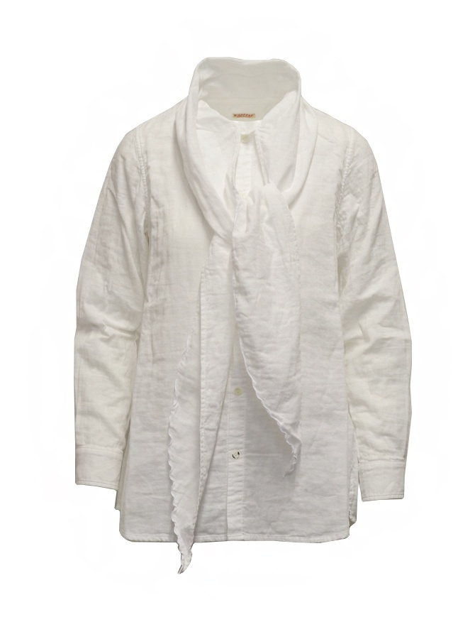 Kapital white shirt with bow at the neck K2009LS004 WHT womens shirts online shopping