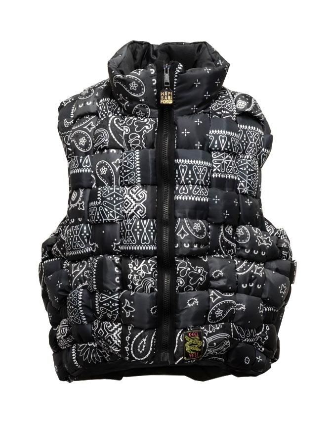 Kapital reversible padded vest in black Keel nylon EK-1001 BLK mens jackets online shopping