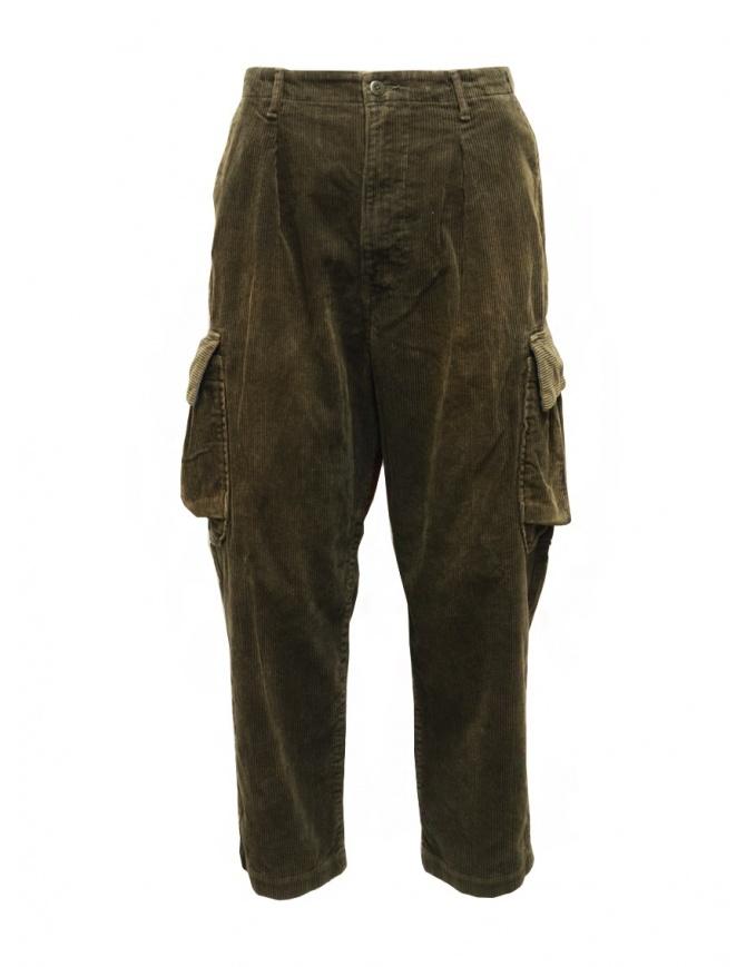 Kapital Wallaby cargo pants in green corduroy K2011LP126 GR-KH mens trousers online shopping