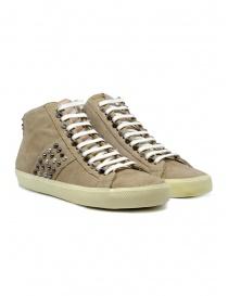Calzature donna online: Leather Crown Studborn sneakers borchiate alte scamosciate beige