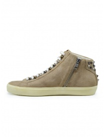 Leather Crown Studborn high studded sneakers in beige suede