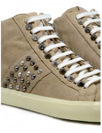 Leather Crown Studborn high studded sneakers in beige suede womens shoes buy online