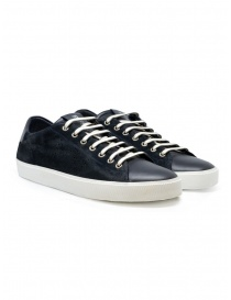 Mens shoes online: Leather Crown Pure dark blue suede sneakers