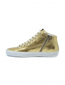 Leather Crown Earth golden high sneakers in leather