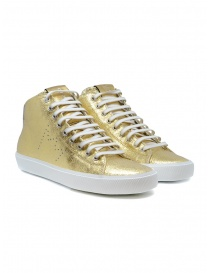 Calzature donna online: Leather Crown Earth sneakers alte dorate in pelle