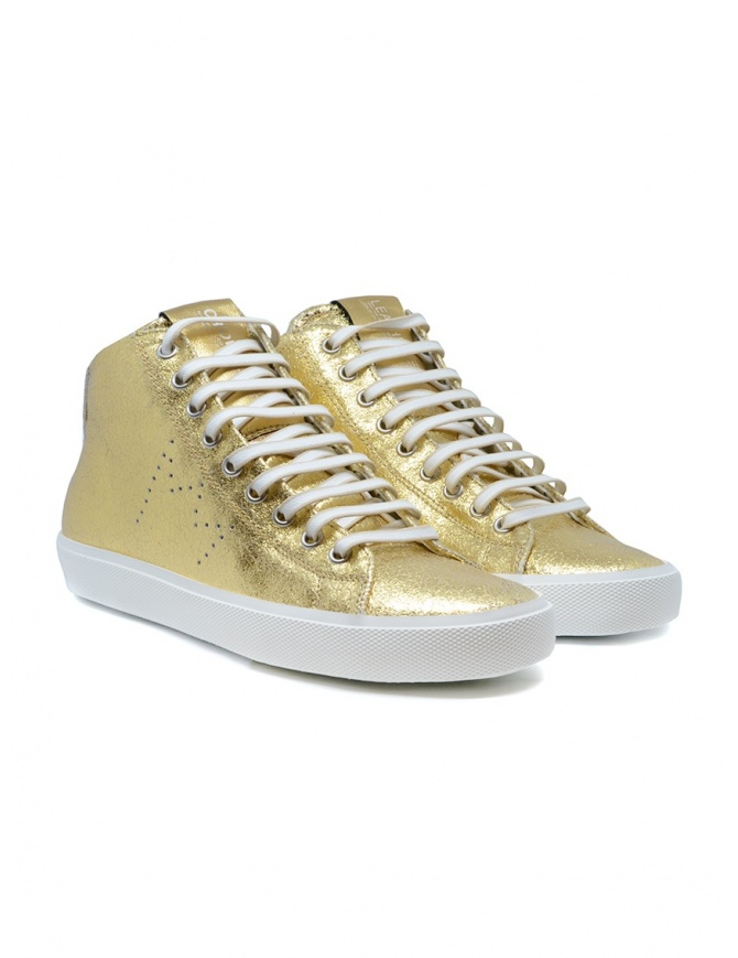 Leather Crown Earth golden high sneakers in leather WLC133 20121 womens shoes online shopping