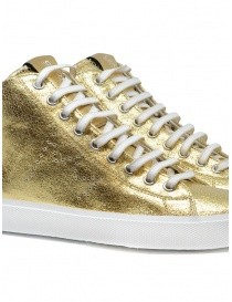 Leather Crown Earth golden high sneakers in leather womens shoes buy online