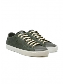 Mens shoes online: Leather Crown Pure dark military green sneakers