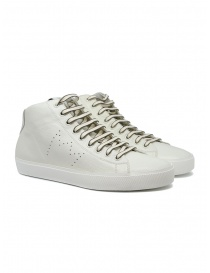 Calzature uomo online: Leather Crown Earth sneakers alte in pelle bianca