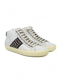 Calzature donna online: Leather Crown Studborn sneakers alte bianche e nere con borchie