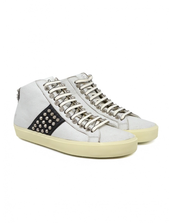 Leather Crown Studborn black and white high top sneakers with studs WLC167 20126 womens shoes online shopping