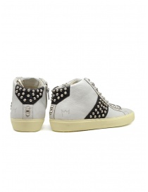 Leather Crown Studborn black and white high top sneakers with studs price