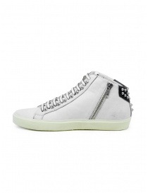 Leather Crown Studborn black and white high top sneakers with studs