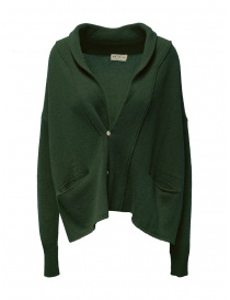 Womens knitwear online: Ma ry ya military green wool cardigan