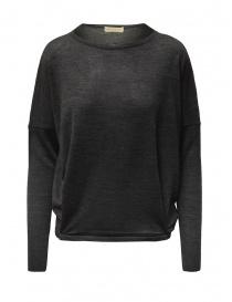 Womens knitwear online: Ma ry ya grey sweater in merino wool, silk and cashmere
