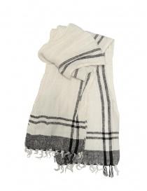 Sciarpe online: Vlas Blomme sciarpa bianca a quadri neri in lino