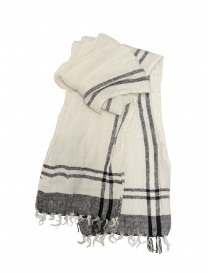 Scarves online: Vlas Blomme white linen scarf with black checks