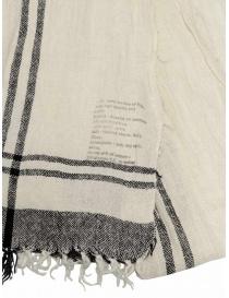 Vlas Blomme sciarpa bianca a quadri neri in lino