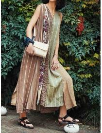 Kapital long sleeveless dress in mixed brown pattern buy online price