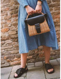 Zucca wicker and black eco-leather bag bags price
