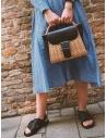 Zucca borsa in vimini ed ecopelle nera prezzo ZU07AG125-26 BLACKshop online