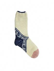 Kapital beige socks with navy blue heel EK-553 NAVY order online