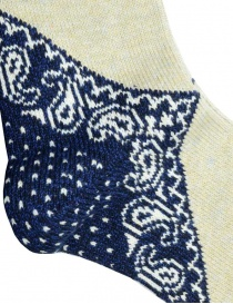Kapital beige socks with navy blue heel