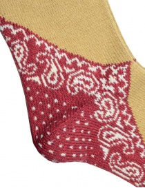 Kapital mustard-colored socks with red heel and blue toe