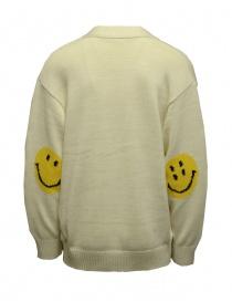 Kapital cardigan bianco con toppe smile sui gomiti