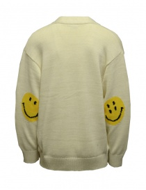 Kapital white cardigan with smiley patches on the elbows