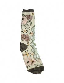 Kapital beige floral socks with transparent rhombus
