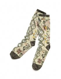Kapital beige floral socks with transparent rhombus K2104XG549 LIGHT BEIGE order online