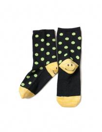 Kapital black socks with green polka dots with smiley heel EK-886 BLACK order online