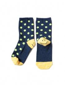 Kapital blue socks with smiley heel and green polka dots EK-886 NAVY order online