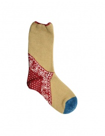 Kapital calzini color senape con tallone rosso e punta blu online