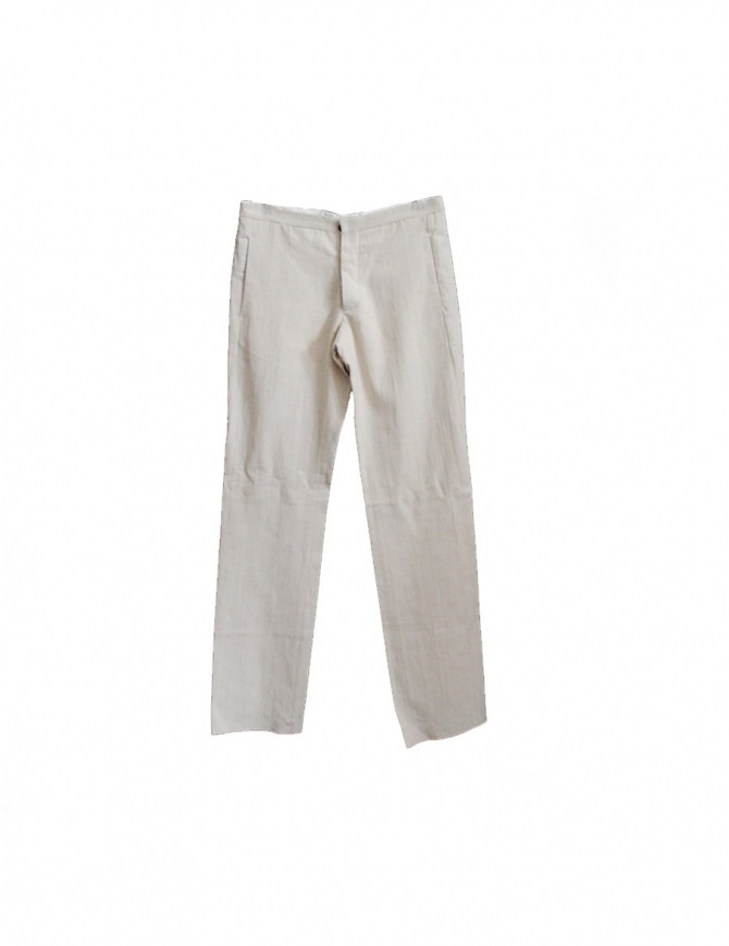 Pantalone Label Under Construction lino beige chiaro 11FMPN12CO73ARG11/00 pantaloni uomo online shopping