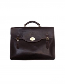 Il Bisonte Raffaello brown leather briefcase online