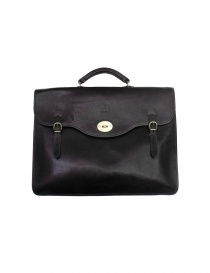Il Bisonte Raffaello black leather briefcase online