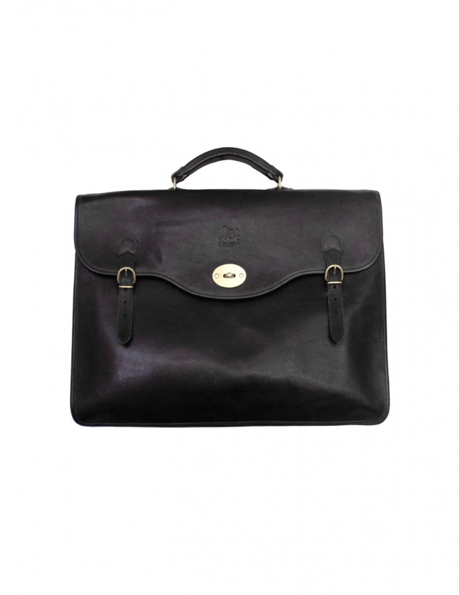 Il Bisonte Raffaello black leather briefcase D0001 P135 N bags online shopping