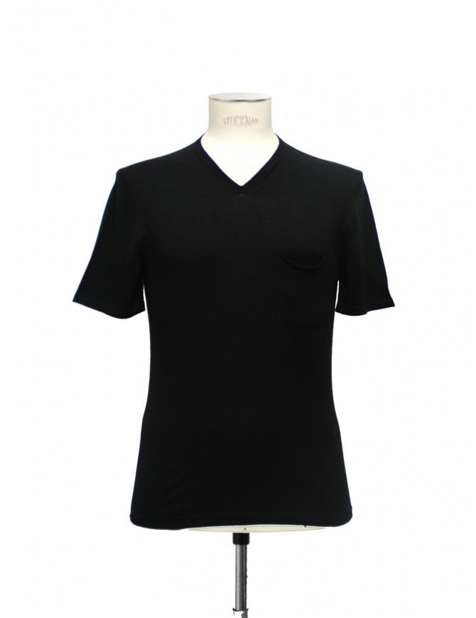 Adriano Ragni Black Cotton V-Neck T-shirt 21ARTS02 CO131 PK 48 mens t shirts online shopping