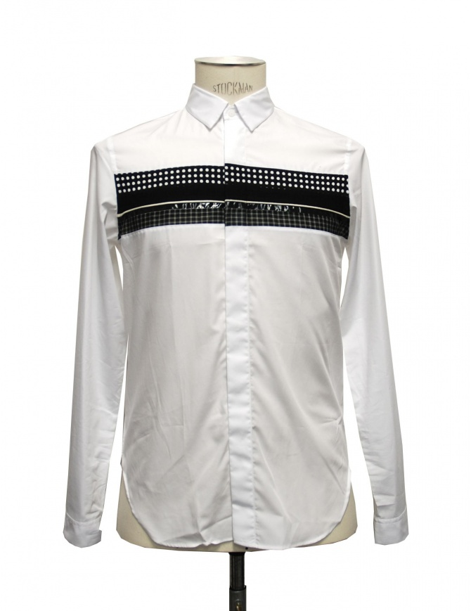 White shirt Cy Choi with black stripe CA35S04AWH00 mens shirts online shopping