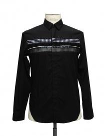 Camicia Cy Choi colore nero con fascia a quadri e pois online