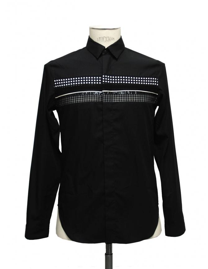 Camicia Cy Choi colore nero con fascia a quadri e pois CA35S04BBK00 camicie uomo online shopping