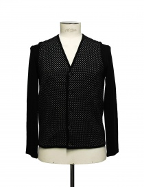 Mens cardigans online: Cy Choi black and white polka dot cardigan